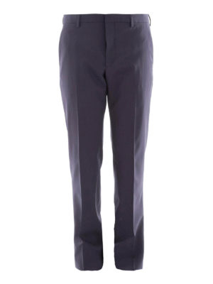 Prada: Tailored & Formal trousers - Blue stretch wool formal trousers