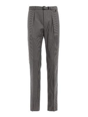 PRADA: Pantaloni sartoriali - Pantaloni pied-de-poule con cintura abbinata