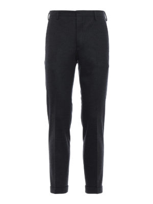 PRADA: Pantaloni sartoriali - Pantaloni in jersey di lana melange