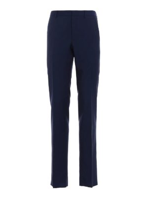 Prada: Tailored & Formal trousers - Navy wool mohair canvas trousers