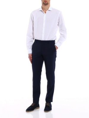 Prada: Tailored & Formal trousers online - Navy wool mohair canvas trousers