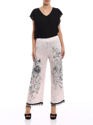 Prada: Tailored & Formal trousers online - Peony Liberty print sable trousers