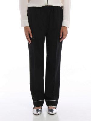 Prada: Tailored & Formal trousers online - Wool crepe pyjama trousers