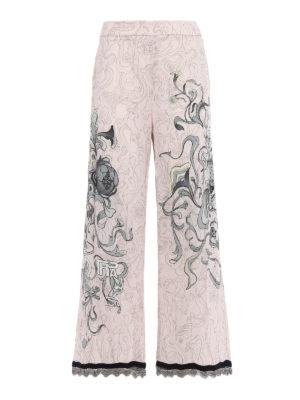 Prada: Tailored & Formal trousers - Peony Liberty print sable trousers