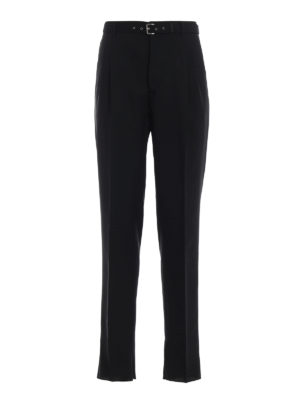 PRADA: Pantaloni sartoriali - Pantaloni in tela con inserti intrecciati