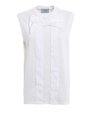 Prada: Tops & Tank tops - Bow detailed pleated tank top