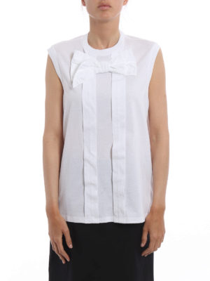 Prada: Tops & Tank tops online - Bow detailed pleated tank top