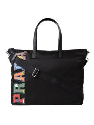 Prada: totes bags - Coloured saffiano logo nylon tote