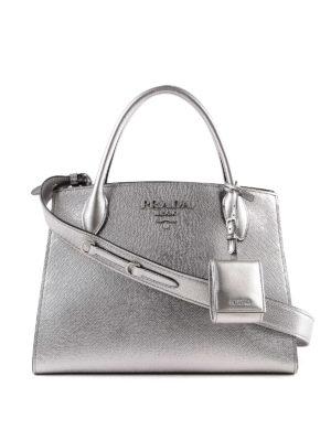 PRADA: shopper - Tote Monochrome in pelle argento