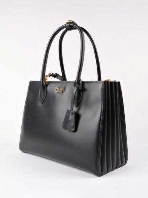 Prada: totes bags online - Bibliotèque smooth leather handbag