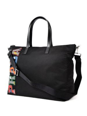 Prada: totes bags online - Coloured saffiano logo nylon tote