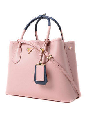Prada: totes bags online - Double pink saffiano leather bag