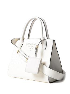 Prada: totes bags online - Monochrome saffiano leather tote