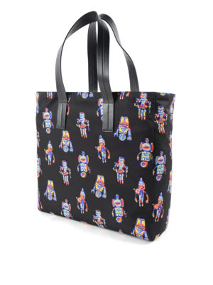Prada: totes bags online - Robot printed nylon shopping bag