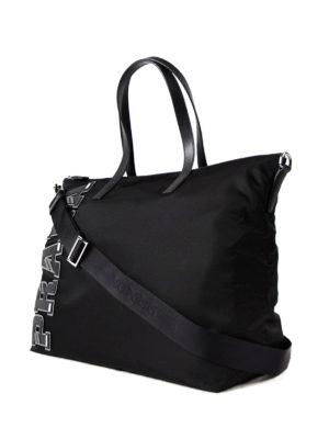 Prada: totes bags online - Saffiano logo patch nylon tote