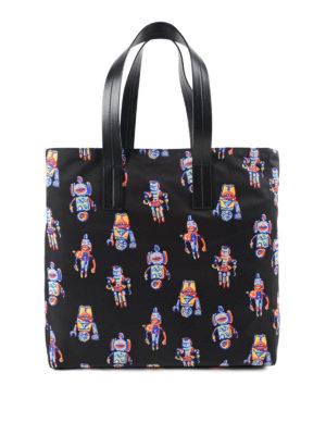Prada: totes bags - Robot printed nylon shopping bag