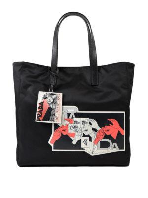 PRADA: shopper - Borsa con patch Comics in saffiano