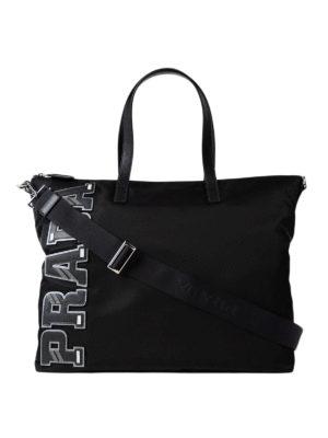 Prada: totes bags - Saffiano logo patch nylon tote