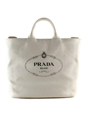 8b7ec0837289 PRADA  shopper - Borsa a mano bianca in cotone con maxi logo. New season