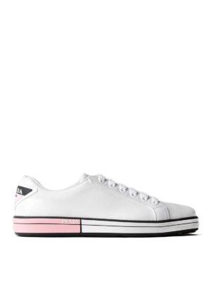 Prada: trainers - Bicolour sole leather sneakers