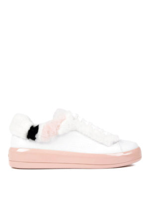 Prada: trainers - Fur detailed soft leather sneakers
