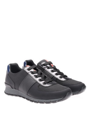 Prada: trainers online - Fabric sneakers with leather band