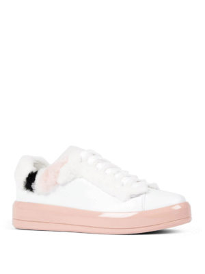 Prada: trainers online - Fur detailed soft leather sneakers
