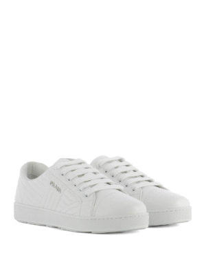 Prada: trainers online - Quilted leather white sneakers