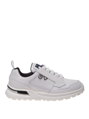PRADA: sneakers - White leather sneakers