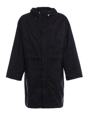 Prada: trench coats - Black nylon hooded trench