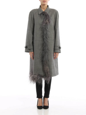 Prada: trench coats online - Feather detail grisaille coat