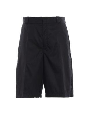 PRADA: pantaloni shorts - Bermuda neri in tecno gabardine