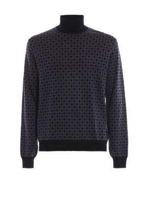 PRADA: maglia a collo alto e polo - Dolcevita in lana a rombi con bordi neri