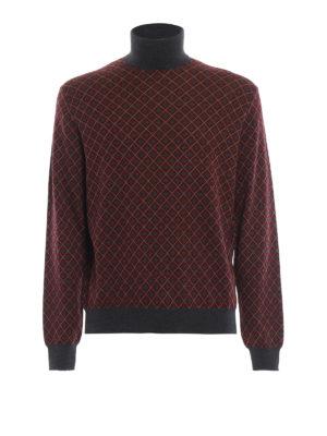 PRADA: maglia a collo alto e polo - Dolcevita in lana a rombi con bordi grigi