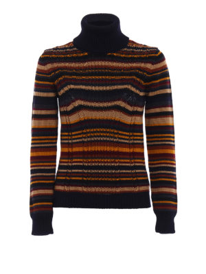Prada: Turtlenecks & Polo necks - Multicolour striped wool turtleneck