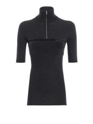 PRADA: maglia a collo alto e polo - Pull a manica corta in lana seta a costina