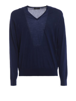 PRADA: maglia collo a v - Pullover a V in lana pettinata blu