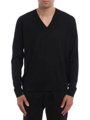 Prada: v necks online - Pure combed wool sweater