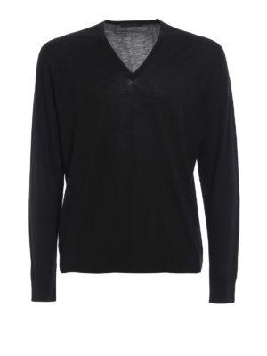 Prada: v necks - Pure combed wool sweater