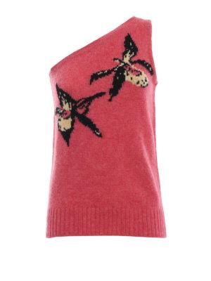 PRADA: maglieria gilet - Pull monospalla in shetland rosa
