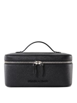 6dd1e66e4916 PRADA: portafogli - Beauty case in pelle saffiano nera