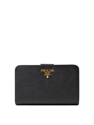 92f2deff62 PRADA: portafogli - Portafoglio nero in pelle saffiano
