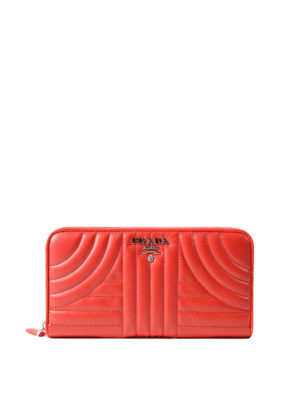 Prada: wallets & purses - Diagramme red zip around wallet