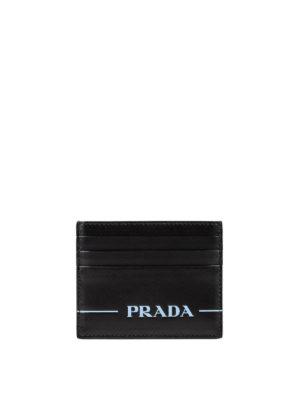 PRADA: portafogli - Porta carte in pelle con logo serigrafato