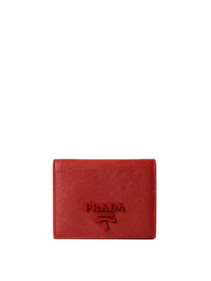 Prada: wallets & purses - Monochrome red saffiano wallet