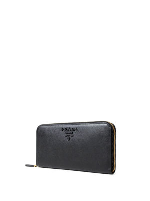Prada: wallets & purses online - Black saffiano zip-around wallet
