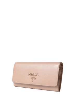Prada: wallets & purses online - Pink saffiano continental wallet