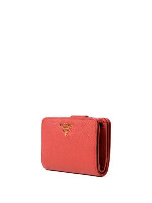 Prada: wallets & purses online - Red saffiano compact wallet