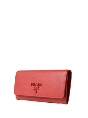 Prada: wallets & purses online - Red saffiano continental wallet