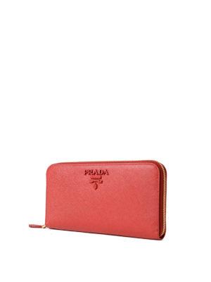 Prada: wallets & purses online - Red saffiano zip-around wallet